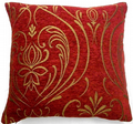 LUXURY RED WINE CHENILLE GOLD GLITTER REGENCY SCROLL CUSHION COVER £5.95 EACH